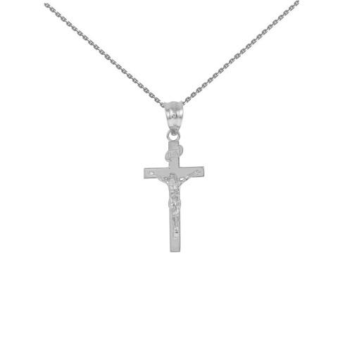 "White Gold Jesus Crucifix Cross Pendant Necklace ( 1.18"")"