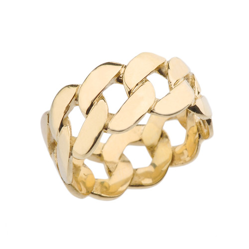 Yellow Gold 11 mm Unisex Miami Link Eternity Band Ring