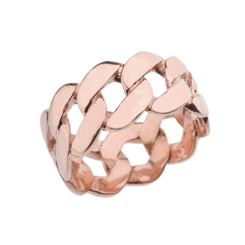Rose Gold 11 mm Unisex Miami Link Eternity Band Ring