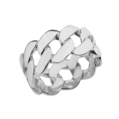 Sterling Silver 11 mm Unisex Miami Link Eternity Band Ring
