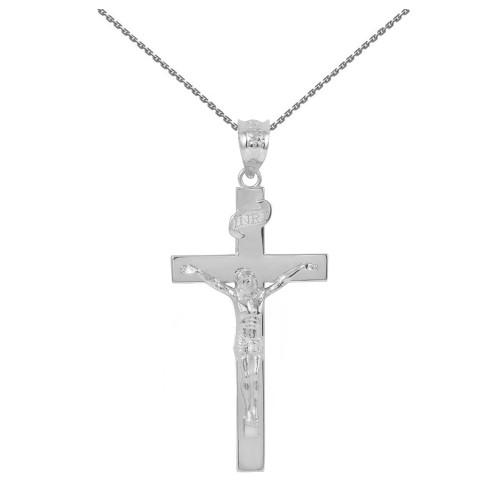 "White Gold Jesus Crucifix Cross Pendant Necklace ( 1.60"")"