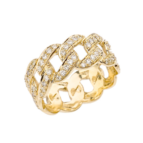 Unisex Yellow Gold Cuban Link Chain Design Diamond Eternity Band