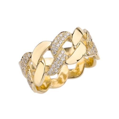 Yellow Gold Link Chain Design Diamond Unisex Eternity Band
