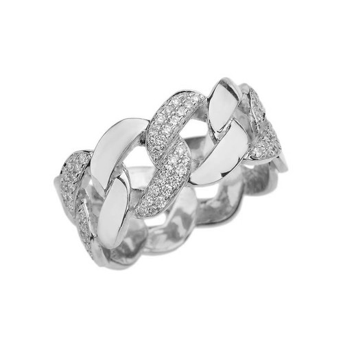 White Gold Link Chain Design Diamond Unisex Eternity Band