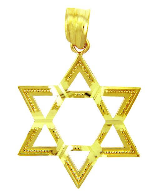 Jewish Charms and Pendants - 14K Gold Gleaming Star of David Pendant