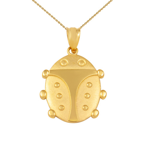 Yellow Gold Lucky Ladybug Pendant Necklace