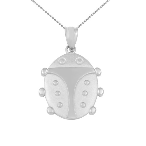 White Gold Lucky Ladybug Pendant Necklace