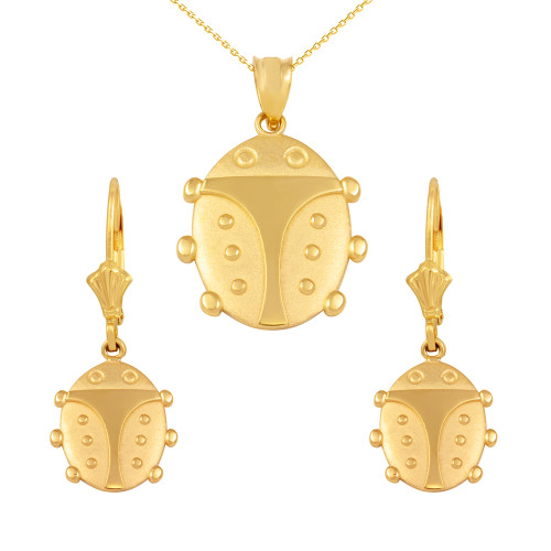 14K Yellow Gold Lucky Ladybug Pendant Necklace Earring Set