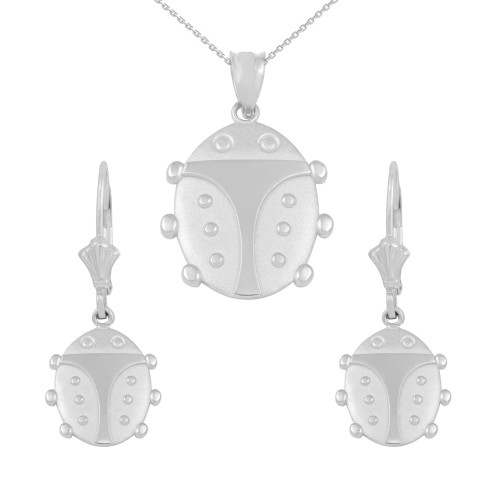 14K White Gold Lucky Ladybug Pendant Necklace Earring Set