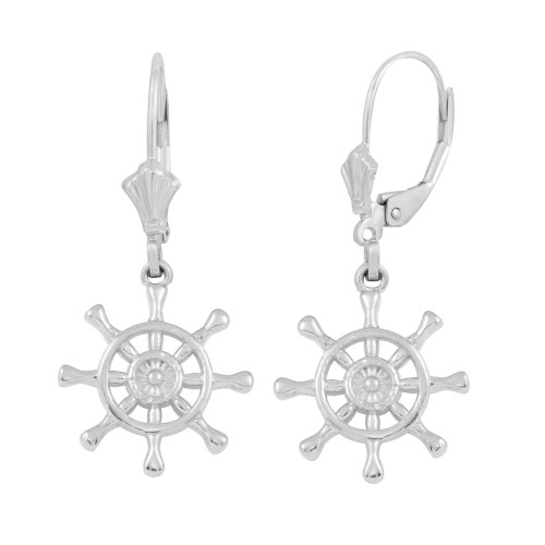 14K White Gold Nautical Ship Wheel Earring Set