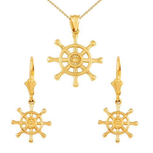 14K Yellow Gold Nautical Ship Wheel Pendant Necklace Earring Set