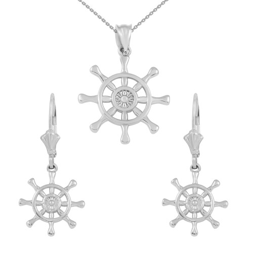 14K White Gold Nautical Ship Wheel Pendant Necklace Earring Set