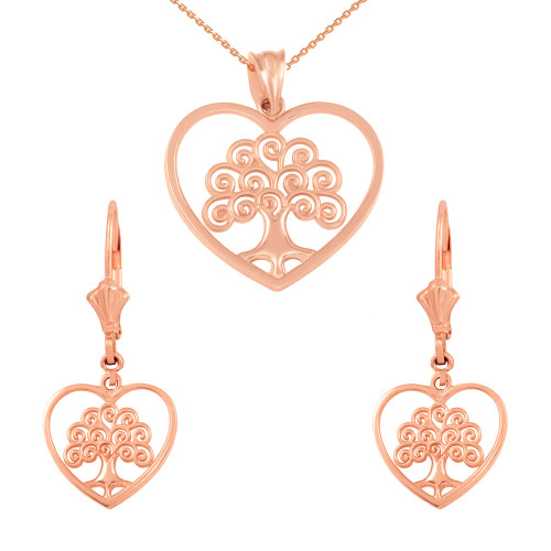 14k Rose Gold Tree of Life Open Heart Filigree Pendant Necklace Earring Set