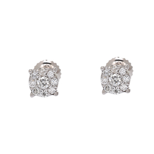 White Gold Halo Diamond Stud Earrings (5 mm)