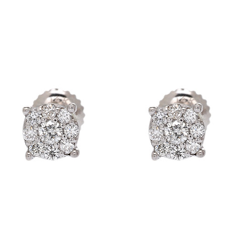 White Gold Halo Diamond Stud Earrings (6 mm)