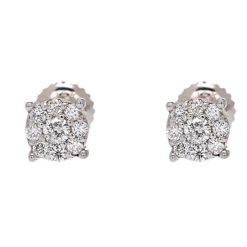 White Gold Halo Diamond Stud Earrings (7 mm)