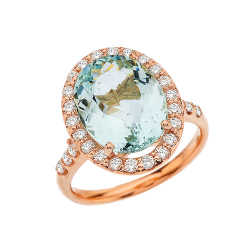 Rose Gold Elegant Aquamarine and Halo Diamond Cocktail Ring