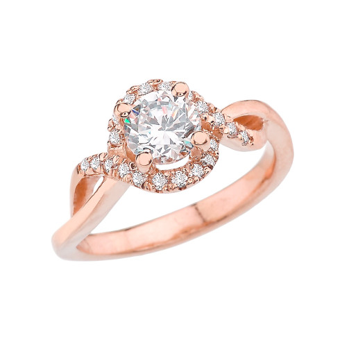Rose Gold Infinity Diamond Engagement/Proposal Ring With White Topaz Center Stone