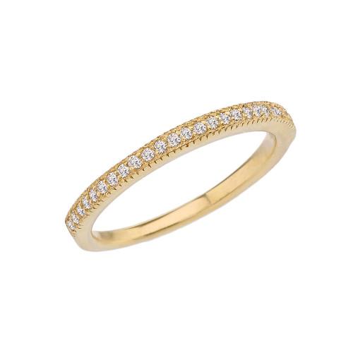 Yellow Gold Elegant Cubic Zirconia Engagement/Proposal Band