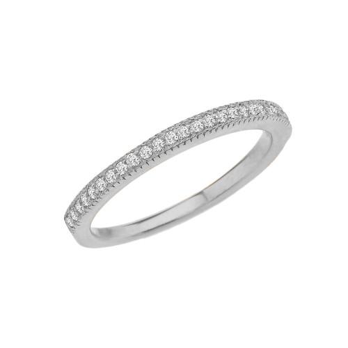 White Gold Elegant Cubic Zirconia Engagement/Proposal Band