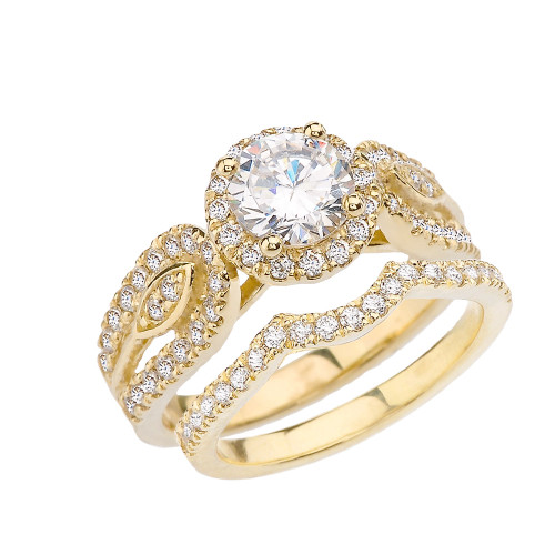 Yellow Gold Elegant Diamond Engagement/Wedding Ring Set With Cubic Zirconia Center Stone