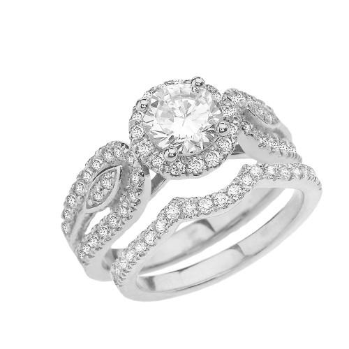 White Gold Elegant Diamond Engagement/Wedding Ring Set With Cubic Zirconia Center Stone