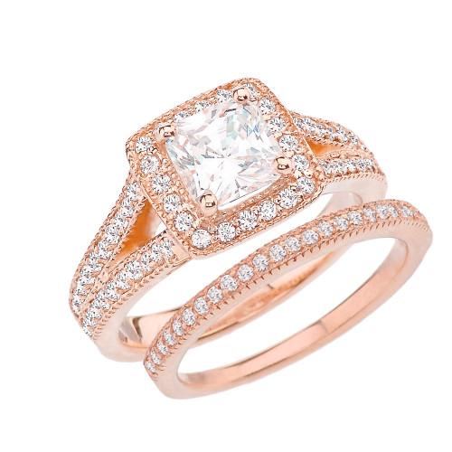 Rose Gold Cubic Zirconia Engagement/Anniversary Ring Set