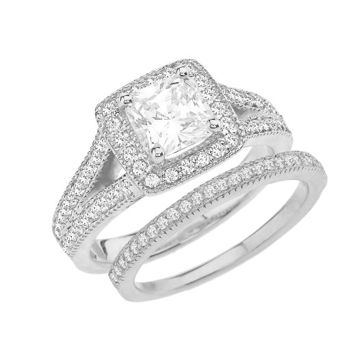 White Gold Diamond Engagement/Anniversary Ring Set With Cubic Zirconia Center Stone