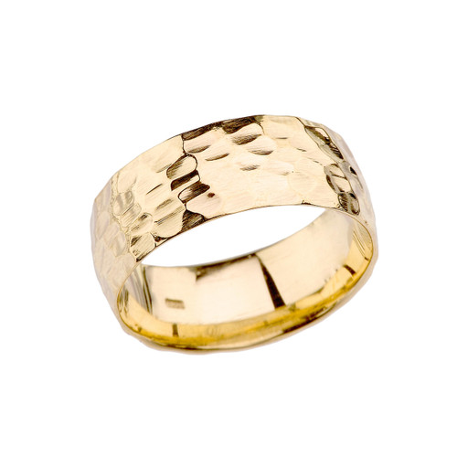 Yellow Gold Modern Hammered 7 mm Band
