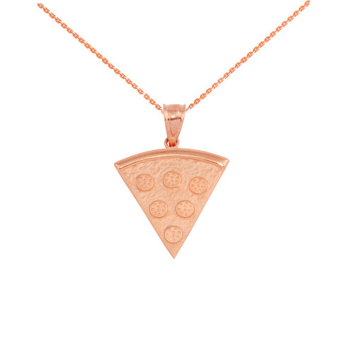 Rose Gold Pizza Slice Friendship Pendant Necklace