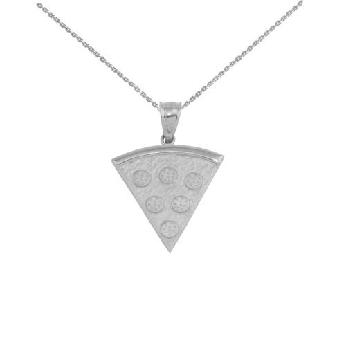 White Gold  Pizza Slice Friendship Pendant Necklace