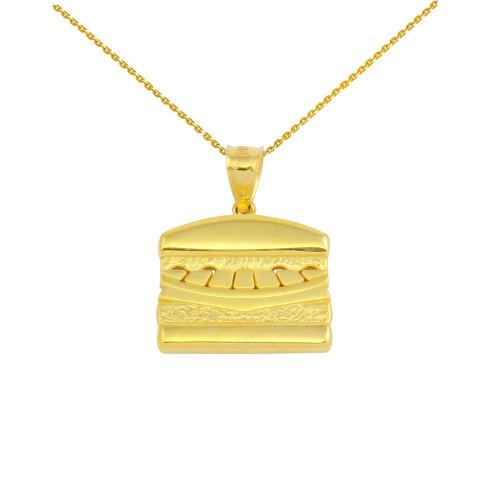 Yellow Gold Hamburger Pendant Necklace