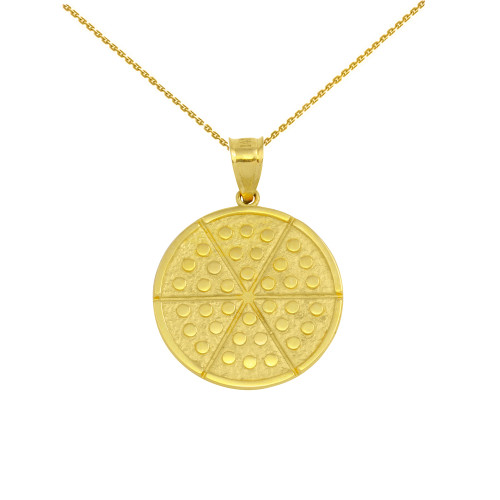 Yellow Gold Six Slice Pizza Circle Pendant Necklace
