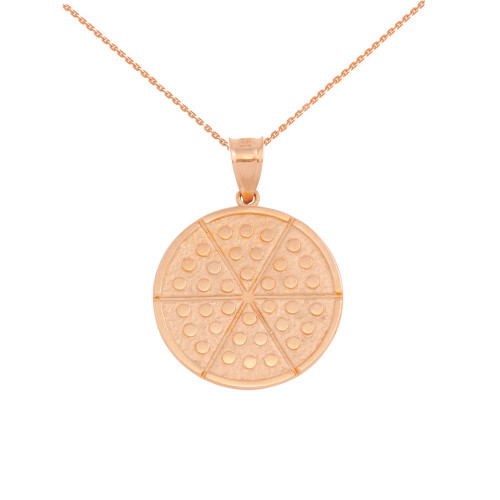 Rose Gold Six Slice Pizza Circle Pendant Necklace