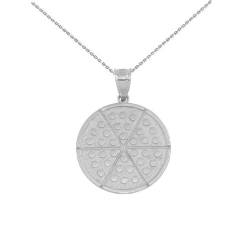 White Gold Six Slice Pizza Circle Pendant Necklace