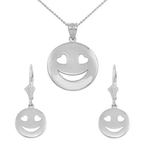 14K White Gold Heart Eyes Smiley Face Pendant Necklace Earring Set