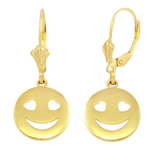 14K Yellow Gold Heart Eyes Smiley Face Earring Set