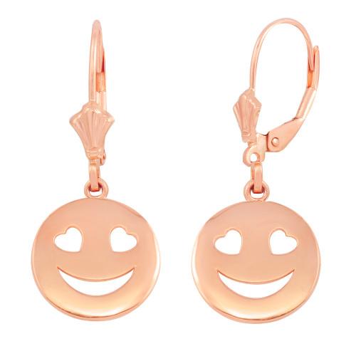 14K Rose Gold Heart Eyes Smiley Face Earring Set
