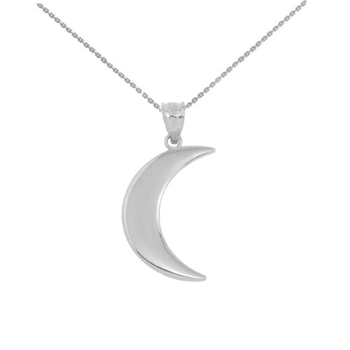 Sterling Silver Crescent Moon Pendant Necklace