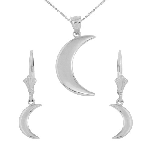 14K White Gold Crescent Moon Pendant Necklace Earring Set