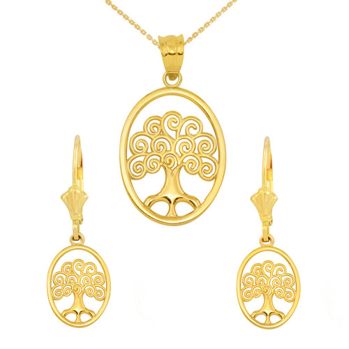 14K Yellow Gold Tree of Life Filigree Swirl Celtic Pendant Necklace Earring Set