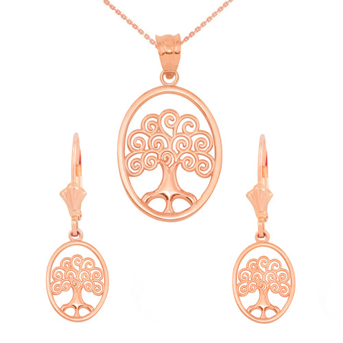 14K Rose Gold Tree of Life Filigree Swirl Celtic Pendant Necklace Earring Set