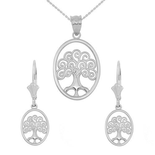 14K White Gold Tree of Life Filigree Swirl Celtic Pendant Necklace Earring Set