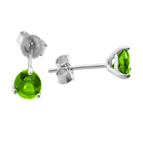 White Gold Peridot Martini Stud Earrings