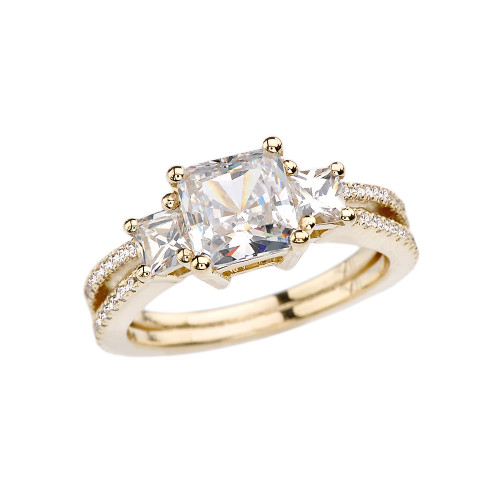 Yellow Gold Diamond Double Raw Elegant Princess Cut Engagement/Proposal Ring With Over 3 Ct Princess Cut Cubic Zirconia