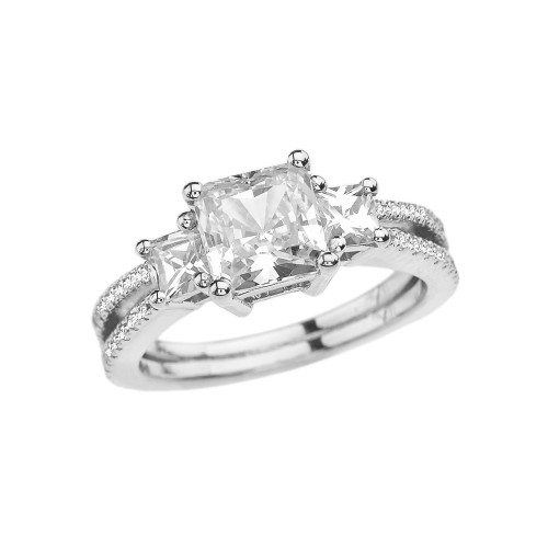 White Gold Diamond Double Raw Elegant Princess Cut Engagement/Proposal Ring With Over 3 Ct Princess Cut Cubic Zirconia