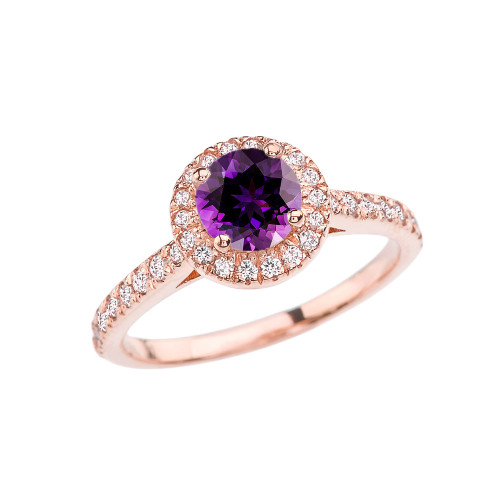 Rose Gold Diamond and Amethyst Engagement/Proposal Ring