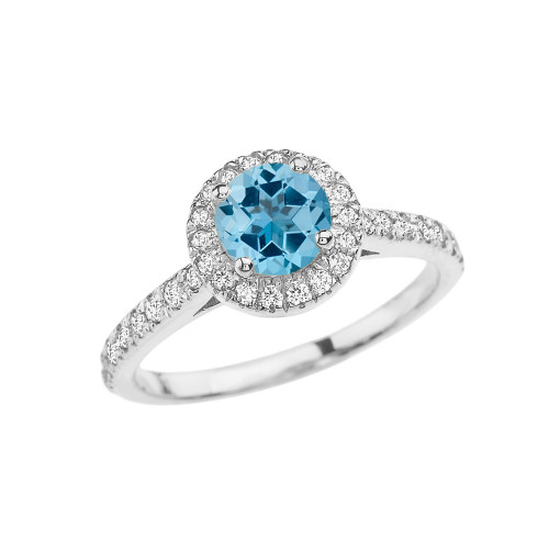 White Gold Diamond and Blue Topaz Engagement/Proposal Ring