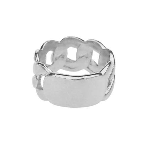 White Gold Personalized ID Engravable Cuban Link Band/Ring