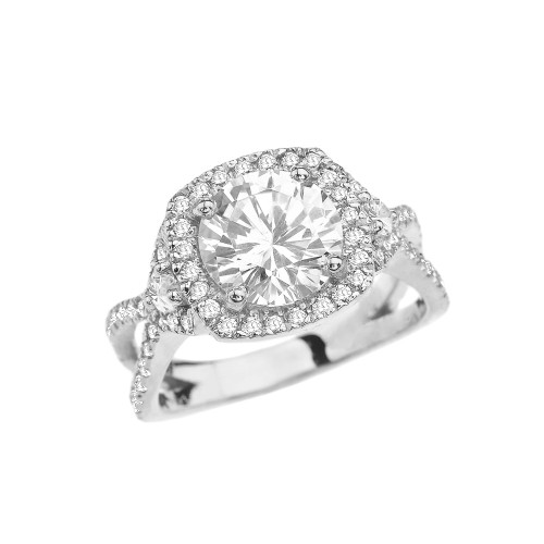 White Gold Twisted Halo Engagement/Proposal Ring With Cubic Zirconia